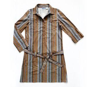NWT Striped Tie Waist Shirt Dress + Pockets M